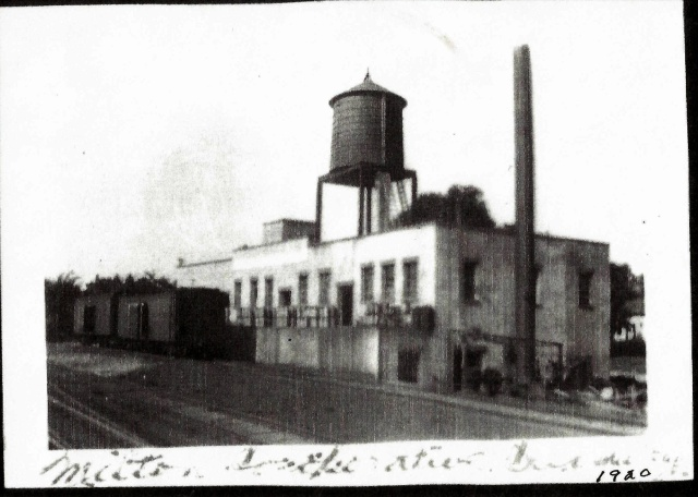 Railroad view, Notice the massive water tower and the absence of the brick edition. Courtesy of Milton Historical Society