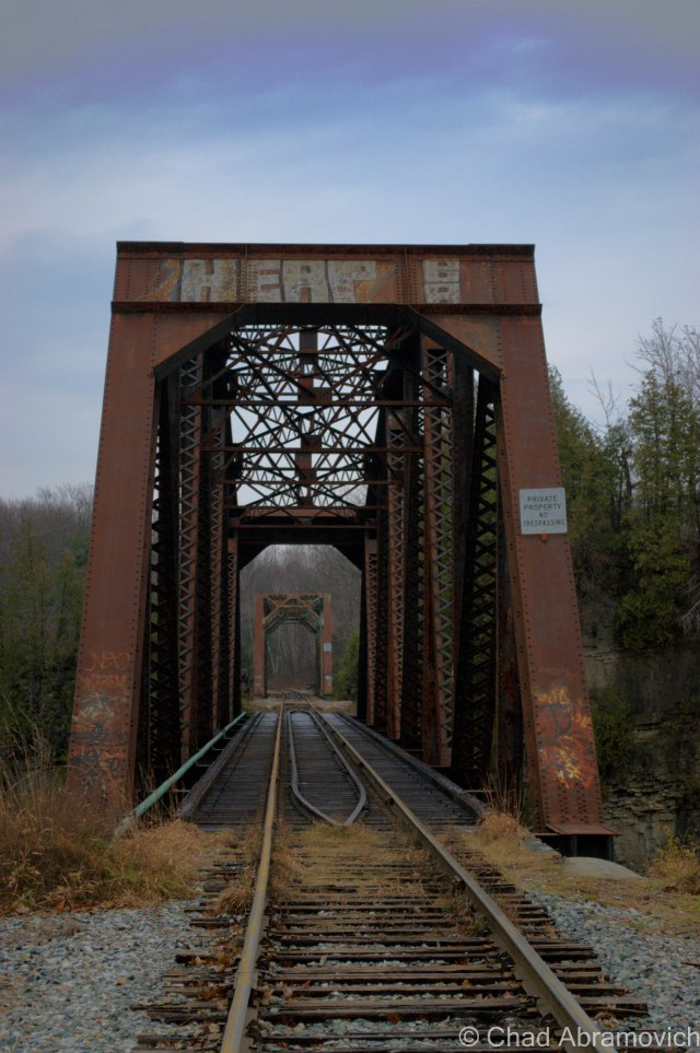 An area landmark, and a cool one at that, a double railroad trestle bridge spanning the turbulent waters of the Winooski Gorge.