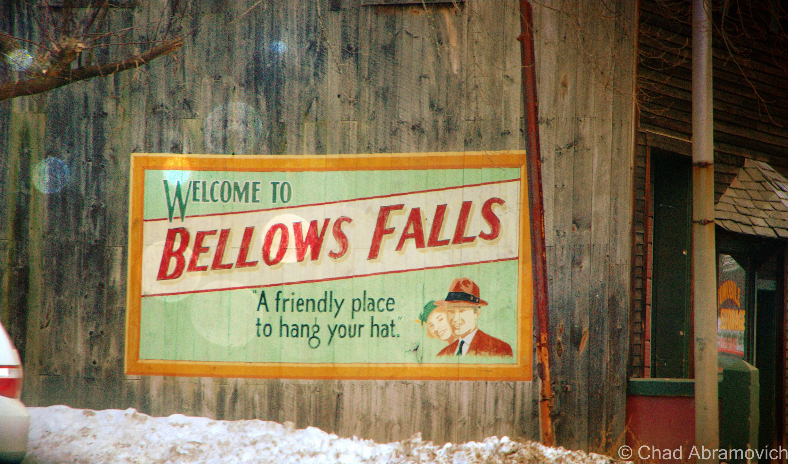 One of my favorite things about Bellows Falls were the cool retro advertisements around town that conjured images of classic Americana. There is even a billboard promoting the town, across the river in New Hampshire of course.