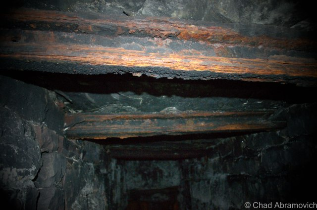 Railroad ties that spanned the ceiling were used in some of the tunnel's construction