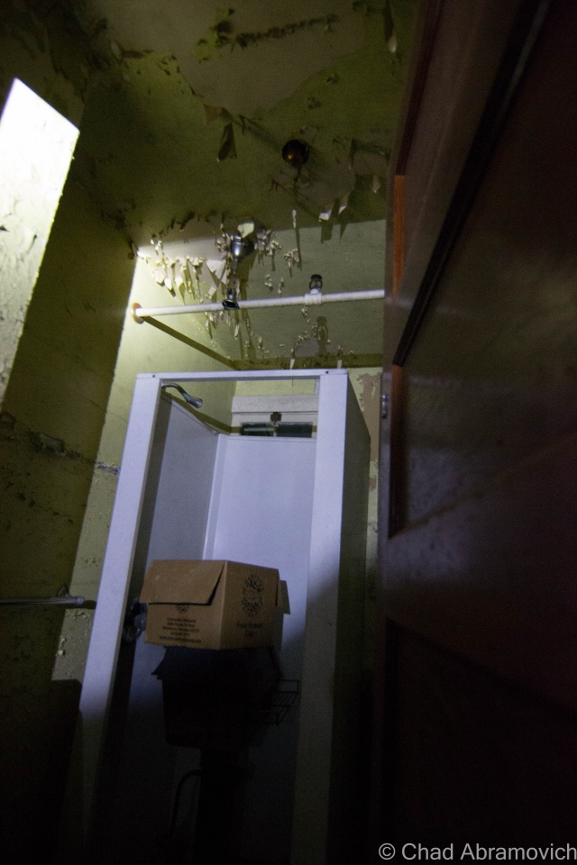 Much of the hospital is used for storage, making you feel claustrophobic as you wonder around the halls and rooms inside. Underneath mounds of various items, original features can still be seen.