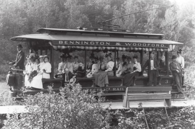 A classic image of The Bennington and Woodford Trolley, filled with nicely dress women on their way to Glastenbury.