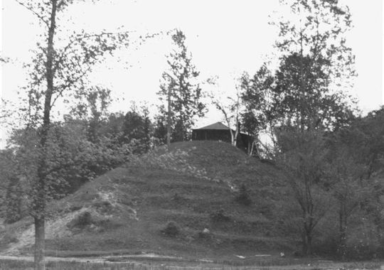 An old photo of an alleged Indian Mound near the shores of Lake Champlain. Photo courtesy of The Milton Historical Society