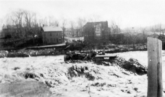 The remodeled town square after the flood, with Joseph Clark's office building and Phelp's store the only surviving buildings. Photo: UVM Landscape Change Program