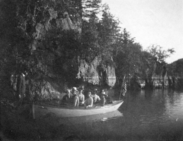 Early explorers on the Lamoille River near Milton Falls, early 1800s. Photo: UVM Landscape Change Program