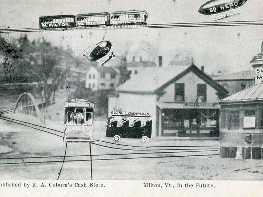 This old postcard published by Coburn's Cash Store depicted what Milton schoolkids from 1907 thought town would be like in the future. That included blimp taxi service to South Hero, which I still think would be sort of cool. | photo: Milton Historical Society.
